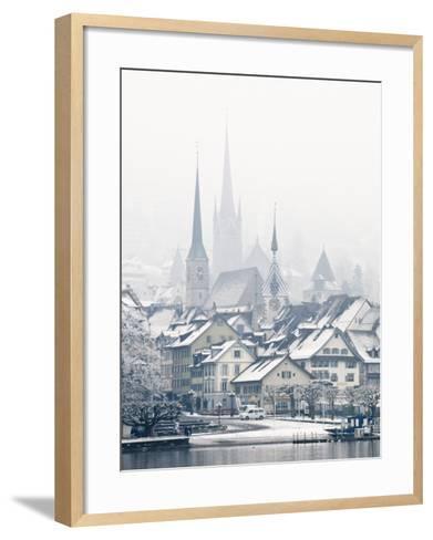 The Town of Zug on a Misty Winter Day, Zug, Switzerland, Europe-John Woodworth-Framed Art Print