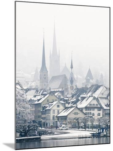The Town of Zug on a Misty Winter Day, Zug, Switzerland, Europe-John Woodworth-Mounted Photographic Print