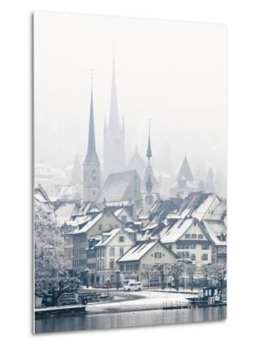The Town of Zug on a Misty Winter Day, Zug, Switzerland, Europe-John Woodworth-Metal Print