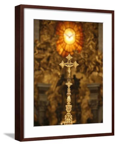 Crucifix in St. Peter's Basilica, Vatican, Rome, Lazio, Italy, Europe-Godong-Framed Art Print