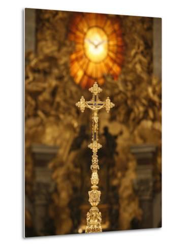 Crucifix in St. Peter's Basilica, Vatican, Rome, Lazio, Italy, Europe-Godong-Metal Print