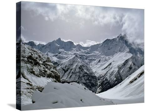 Machrapuchare from Annapurna Sanctuary, Nepal, Asia-Nigel Blythe-Stretched Canvas Print