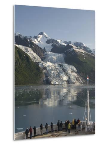 Passengers on Cruise Ship Viewing the Vasser Glacier, College Fjord, Inside Passage, Alaska-Richard Maschmeyer-Metal Print