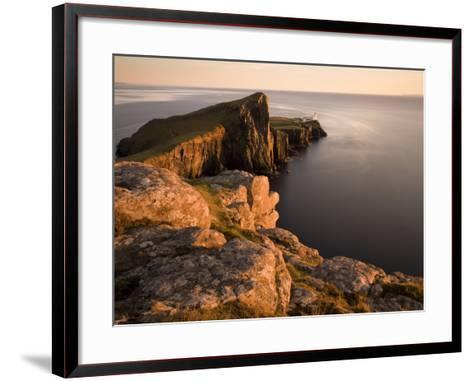Neist Point and Lighthouse Bathed in Evening Light, Isle of Skye, Highland-Lee Frost-Framed Art Print