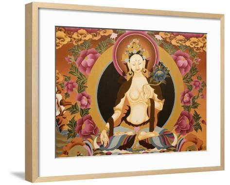 Thangka Depicting White Tara Goddess, Buddhist Symbol of Long Life, Bhaktapur, Nepal, Asia-Godong-Framed Art Print