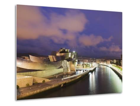 The Guggenheim, Designed by Canadian-American Architect Frank Gehry, on the Nervion River-Christian Kober-Metal Print