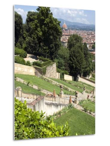 View Out over Florence from the Bardini Garden, the Bardini Garden, Florence, Tuscany-Nico Tondini-Metal Print