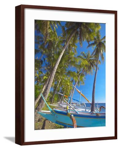 Traditional Indonesian Fishing Boats at the Beach, North Coast, Bali, Indonesia-Sakis Papadopoulos-Framed Art Print