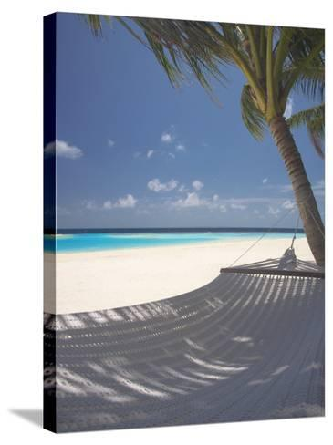 Hammock on Beach, Maldives, Indian Ocean, Asia-Sakis Papadopoulos-Stretched Canvas Print