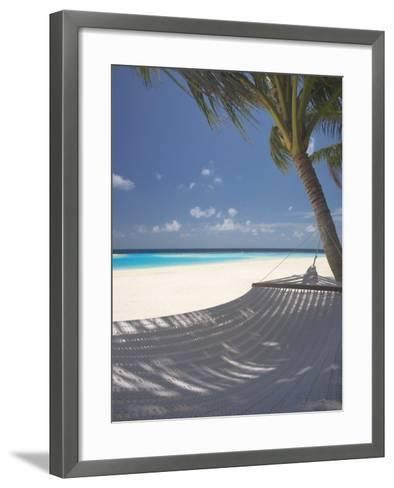 Hammock on Beach, Maldives, Indian Ocean, Asia-Sakis Papadopoulos-Framed Art Print