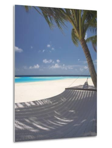 Hammock on Beach, Maldives, Indian Ocean, Asia-Sakis Papadopoulos-Metal Print