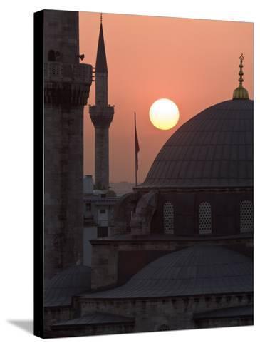Sun Setting Behind Mahamut Pasha Mosque, Istanbul, Turkey, Europe-Martin Child-Stretched Canvas Print
