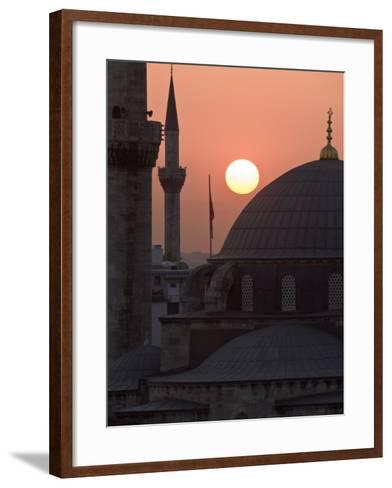Sun Setting Behind Mahamut Pasha Mosque, Istanbul, Turkey, Europe-Martin Child-Framed Art Print