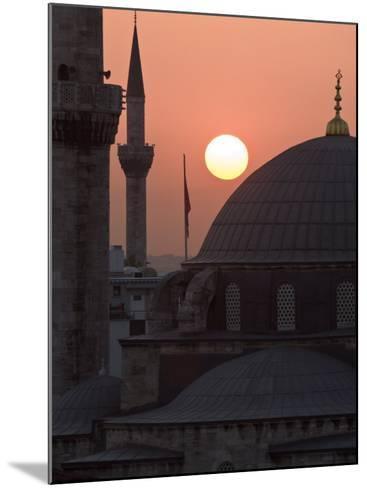 Sun Setting Behind Mahamut Pasha Mosque, Istanbul, Turkey, Europe-Martin Child-Mounted Photographic Print