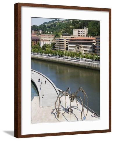 Giant Spider Sculpture by Louise Bourgeois, Nervion River, Bilbao, Basque Country, Spain, Europe-Christian Kober-Framed Art Print