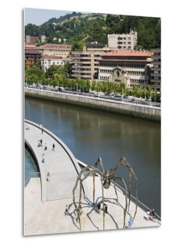 Giant Spider Sculpture by Louise Bourgeois, Nervion River, Bilbao, Basque Country, Spain, Europe-Christian Kober-Metal Print