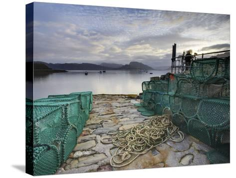 View Out to Sea from Stone Slipway at Dawn, with Lobster Pots and Ropes in Foreground, Plokton-Lee Frost-Stretched Canvas Print