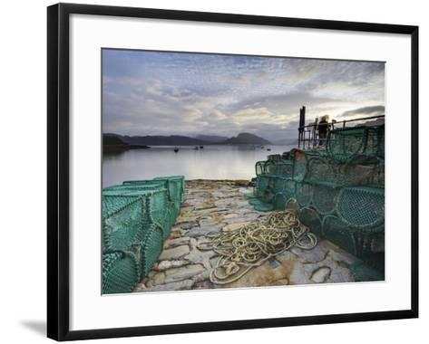View Out to Sea from Stone Slipway at Dawn, with Lobster Pots and Ropes in Foreground, Plokton-Lee Frost-Framed Art Print