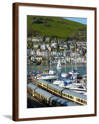 Train, Dartmouth Harbour, Devon, England, United Kingdom, Europe-Charles Bowman-Framed Art Print
