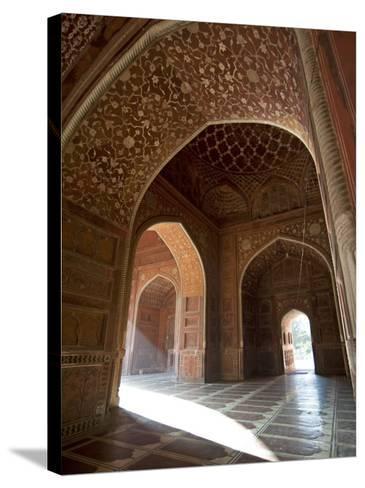 Interior of Red Sandstone Mosque at the Taj Mahal, Agra, Uttar Pradesh-Annie Owen-Stretched Canvas Print