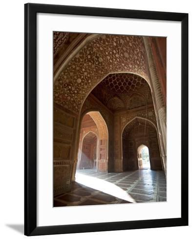 Interior of Red Sandstone Mosque at the Taj Mahal, Agra, Uttar Pradesh-Annie Owen-Framed Art Print