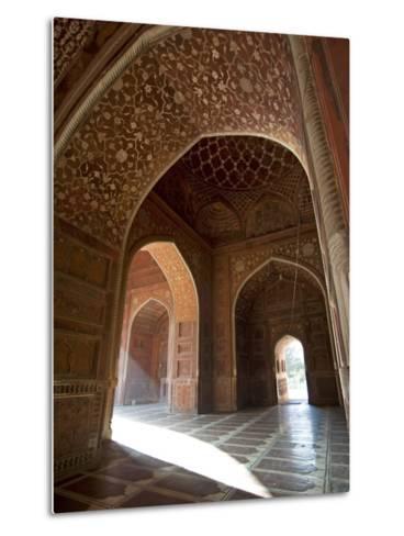 Interior of Red Sandstone Mosque at the Taj Mahal, Agra, Uttar Pradesh-Annie Owen-Metal Print