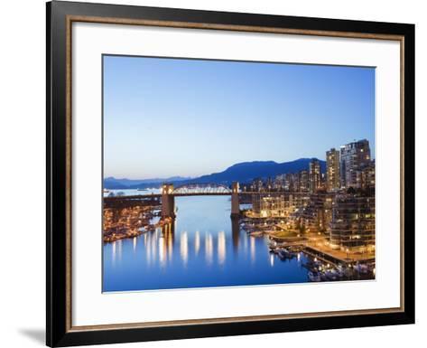 Illuminated Buildings in False Creek Harbour, Vancouver, British Columbia, Canada, North America-Christian Kober-Framed Art Print