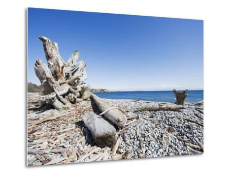 Beach on the Strait of Juan De Fuca, Victoria, Vancouver Island, British Columbia, Canada-Christian Kober-Metal Print