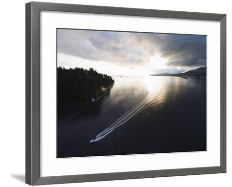 Speed Boat in Burrard Inlet, Vancouver, British Columbia, Canada, North America-Christian Kober-Framed Art Print