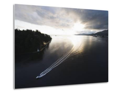 Speed Boat in Burrard Inlet, Vancouver, British Columbia, Canada, North America-Christian Kober-Metal Print