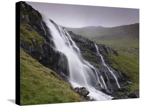 Waterfall, Laksa River Near Hellur, Eysturoy Island, Faroe Islands, Denmark, Europe-Patrick Dieudonne-Stretched Canvas Print
