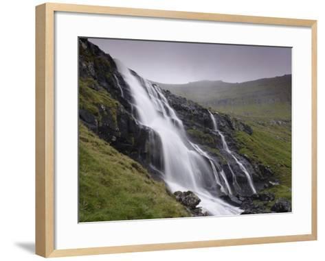 Waterfall, Laksa River Near Hellur, Eysturoy Island, Faroe Islands, Denmark, Europe-Patrick Dieudonne-Framed Art Print