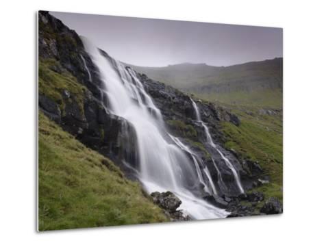 Waterfall, Laksa River Near Hellur, Eysturoy Island, Faroe Islands, Denmark, Europe-Patrick Dieudonne-Metal Print