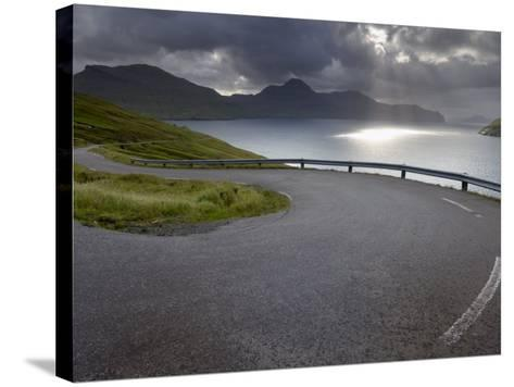Winding Road Near Kvivik, and Vestmannasund Between Vagar on the Right, and Streymoy Islands-Patrick Dieudonne-Stretched Canvas Print