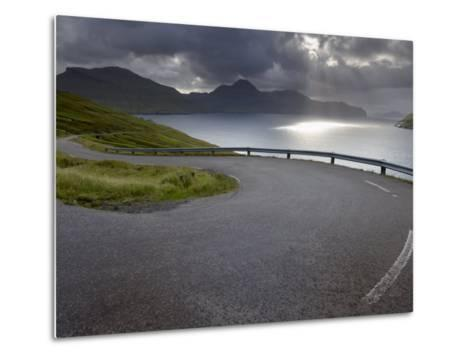 Winding Road Near Kvivik, and Vestmannasund Between Vagar on the Right, and Streymoy Islands-Patrick Dieudonne-Metal Print
