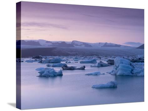 Icebergs in Jokulsarlon Glacial Lagoon, at Dusk-Patrick Dieudonne-Stretched Canvas Print