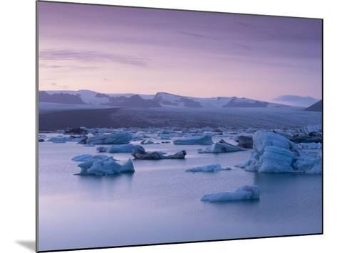 Icebergs in Jokulsarlon Glacial Lagoon, at Dusk-Patrick Dieudonne-Mounted Photographic Print