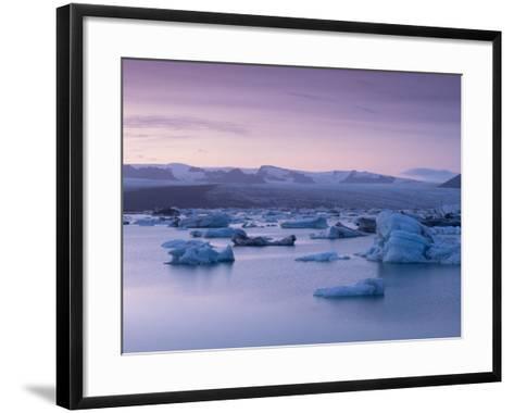 Icebergs in Jokulsarlon Glacial Lagoon, at Dusk-Patrick Dieudonne-Framed Art Print