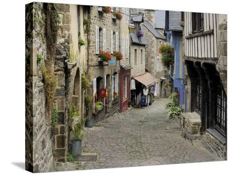 Ancient Cobbled Street and Houses, Rue Du Petit Fort, Dinan, Cotes-D'Armor, Brittany-Peter Richardson-Stretched Canvas Print