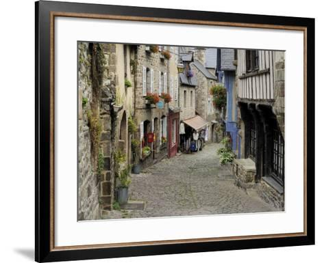 Ancient Cobbled Street and Houses, Rue Du Petit Fort, Dinan, Cotes-D'Armor, Brittany-Peter Richardson-Framed Art Print