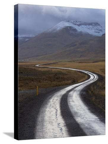 Road and Landscape in Vatsnes Peninsula, with Snow-Covered Mountains in October of Iceland-Patrick Dieudonne-Stretched Canvas Print