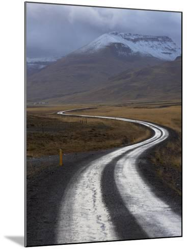 Road and Landscape in Vatsnes Peninsula, with Snow-Covered Mountains in October of Iceland-Patrick Dieudonne-Mounted Photographic Print