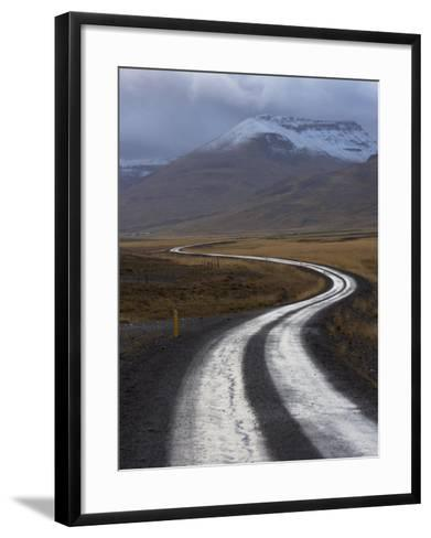 Road and Landscape in Vatsnes Peninsula, with Snow-Covered Mountains in October of Iceland-Patrick Dieudonne-Framed Art Print