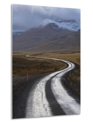 Road and Landscape in Vatsnes Peninsula, with Snow-Covered Mountains in October of Iceland-Patrick Dieudonne-Metal Print