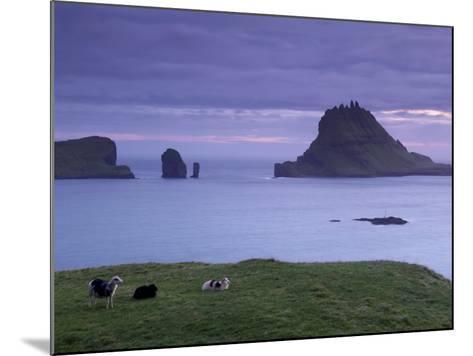 Tindholmur Island Rising to 262 M, and Drangarnir Natural Arch at Sunset, with Sheep, from Vagar-Patrick Dieudonne-Mounted Photographic Print