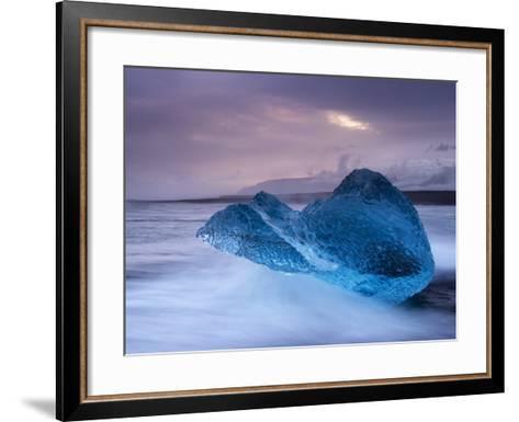 Translucent Blue Iceberg Washed Ashore on Breidamerkursandur Black Sands-Patrick Dieudonne-Framed Art Print