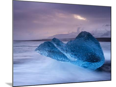 Translucent Blue Iceberg Washed Ashore on Breidamerkursandur Black Sands-Patrick Dieudonne-Mounted Photographic Print