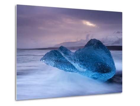 Translucent Blue Iceberg Washed Ashore on Breidamerkursandur Black Sands-Patrick Dieudonne-Metal Print