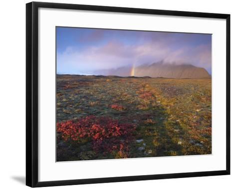 Autumn Colours and Rainbow over Illuklettar Near Skaftafellsjokull Glacier Seen in the Distance-Patrick Dieudonne-Framed Art Print