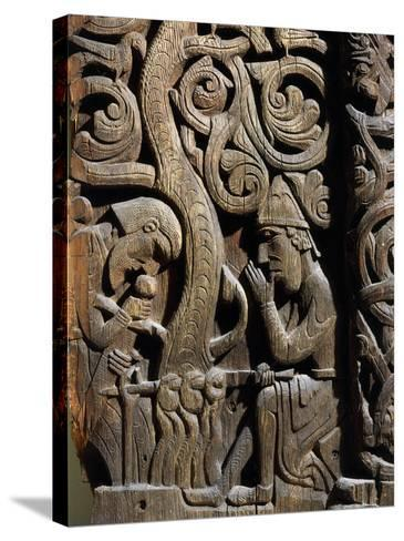 Nordic Saga or Legend of Siegfried or Sigurd, 12th century wood panel from Setesdale Church Norway--Stretched Canvas Print